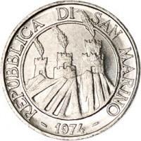 obverse of 1 Lira (1974) coin with KM# 30 from San Marino. Inscription: REPUBBLICA DI SAN MARINO - 1974 -
