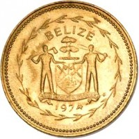 obverse of 1 Cent - Elizabeth II - Avifauna of Belize: Swallow-Tailed Kite (1974) coin with KM# 38 from Belize. Inscription: BELIZE SUB UMBRA FLOREO 1974