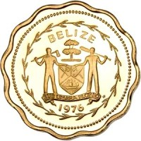 obverse of 1 Cent - Elizabeth II - Avifauna of Belize: Swallow-Tailed Kite (1975 - 1976) coin with KM# 46 from Belize. Inscription: BELIZE SUB UMBRA FLOREO 1976