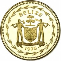obverse of 5 Cents - Elizabeth II - Avifauna of Belize: Fork-Tailed Flycatchers (1975 - 1976) coin with KM# 47 from Belize. Inscription: BELIZE SUB UMBRA FLOREO 1976