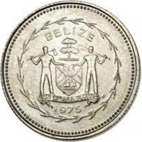 obverse of 10 Cents - Elizabeth II - Avifauna of Belize: Long-Tailed Hermit (1975 - 1981) coin with KM# 48 from Belize. Inscription: BELIZE SUB UMBRA FLOREO 1975
