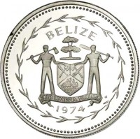 obverse of 25 Cents - Elizabeth II - Avifauna of Belize: Blue-Crowned Motmot (1974) coin with KM# 41a from Belize. Inscription: BELIZE SUB UMBRA FLOREO 1974