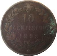 reverse of 10 Centesimi - Umberto I (1893 - 1894) coin with KM# 27 from Italy. Inscription: 10 CENTESIMI 1893 R