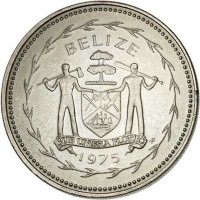 obverse of 50 Cents - Elizabeth II - Avifauna of Belize: Frigate Birds (1975 - 1981) coin with KM# 50 from Belize. Inscription: BELIZE SUB UMBRA FLOREO 1975