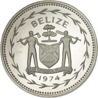 obverse of 1 Dollar - Elizabeth II - Avifauna of Belize: Scarlet Macaw (1974 - 1981) coin with KM# 43 from Belize. Inscription: BELIZE SUB UMBRA FLOREO 1974