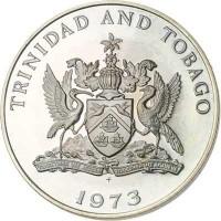 obverse of 1 Dollar - Elizabeth II (1973 - 1975) coin with KM# 23 from Trinidad and Tobago. Inscription: TRINIDAD AND TOBAGO 1973