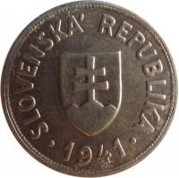 obverse of 50 Halierov (1940 - 1941) coin with KM# 5 from Slovakia. Inscription: SLOVENSKÁ REPUBLIKA 1941