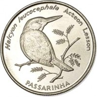 reverse of 10 Escudos - Birds: Grey-headed Kingfisher (Halcyon Leucocephala) (1994) coin with KM# 29 from Cape Verde. Inscription: Halcyon leucocephala Acteon Lesson PASSARINHA