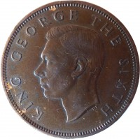 obverse of 1 Penny - George VI (1949 - 1952) coin with KM# 21 from New Zealand. Inscription: KING GEORGE THE SIXTH
