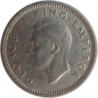 obverse of 3 Pence - George VI (1947) coin with KM# 7a from New Zealand. Inscription: GEORGE VI KING EMPEROR