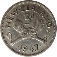 reverse of 3 Pence - George VI (1947) coin with KM# 7a from New Zealand. Inscription: NEW · ZEALAND 3d · 1947 ·