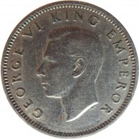 obverse of 6 Pence - George VI (1947) coin with KM# 8a from New Zealand. Inscription: GEORGE VI KING EMPEROR