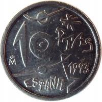 reverse of 10 Pesetas - Juan Carlos I - Joan Miró (1993) coin with KM# 918 from Spain. Inscription: 10 PTAS 1993 ESPAÑA