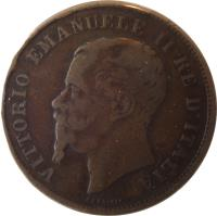 obverse of 5 Centesimi - Vittorio Emanuele II (1861 - 1867) coin with KM# 3 from Italy. Inscription: VITTORIO EMANUELE II RE D'ITALIA FERRARIS