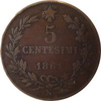 reverse of 5 Centesimi - Vittorio Emanuele II (1861 - 1867) coin with KM# 3 from Italy. Inscription: 5 CENTESIMI 1861 N