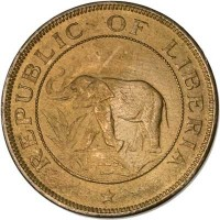 obverse of 2 Cents (1937) coin with KM# 12 from Liberia. Inscription: REPUBLIC OF LIBERIA *