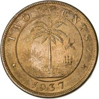 reverse of 2 Cents (1937) coin with KM# 12 from Liberia. Inscription: TWO CENTS 1937