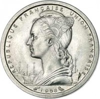 obverse of 1 Franc (1948 - 1958) coin with KM# 3 from Madagascar. Inscription: REPUBLIQUE FRANCAISE UNION FRANCAISE 1958