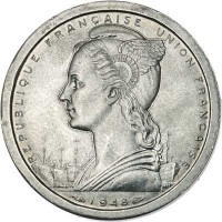 obverse of 2 Francs (1948) coin with KM# 4 from Madagascar. Inscription: REPUBLIQUE FRANCAISE UNION FRANCAISE 1948