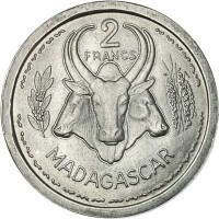 reverse of 2 Francs (1948) coin with KM# 4 from Madagascar. Inscription: 2 FRANCS MADAGASCAR