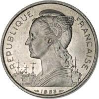obverse of 5 Francs (1953) coin with KM# 5 from Madagascar. Inscription: REPUBLIQUE FRANÇAISE 1953