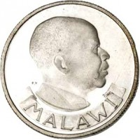obverse of 6 Pence (1964 - 1967) coin with KM# 1 from Malawi. Inscription: MALAWI