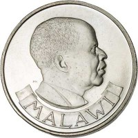 obverse of 1 Florin (1964) coin with KM# 3 from Malawi. Inscription: MALAWI