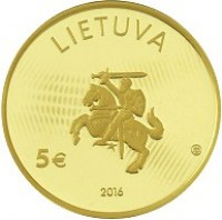 obverse of 5 Euro - Lithuanian science: Physics (2016) coin with KM# 222 from Lithuania. Inscription: LIETUVA 5€ 2016