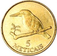 reverse of 5 Meticais (1994) coin with KM# 116 from Mozambique. Inscription: 5 METICAIS