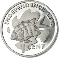 reverse of 1 Cent - Declaration of Independence (1976) coin with KM# 21 from Seychelles. Inscription: INDEPENDENCE 1976 1 CENT