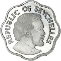 obverse of 5 Cents - Declaration of Independence (1976) coin with KM# 22 from Seychelles. Inscription: REPUBLIC OF SEYCHELLES