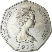 obverse of 5 Rupees - Elizabeth II - 2'nd Portrait (1972) coin with KM# 19 from Seychelles. Inscription: ELIZABETH II SEYCHELLES 1972