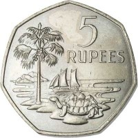reverse of 5 Rupees - Elizabeth II - 2'nd Portrait (1972) coin with KM# 19 from Seychelles. Inscription: 5 RUPEES