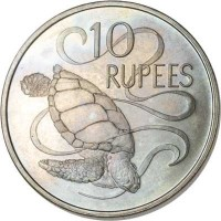 reverse of 10 Rupees - Elizabeth II - 2'nd Portrait (1974) coin with KM# 20 from Seychelles. Inscription: 10 RUPEES