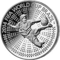 reverse of 1 Rouble - 2014 FIFA World Cup Brazil (2013) coin with KM# 448 from Belarus. Inscription: 2014 FIFA WORLD CUP BRAZIL (TM)
