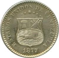 obverse of 1 Centavo (1876 - 1877) coin with Y# 25 from Venezuela. Inscription: ESTADOS UNIDOS DE VENEZUELA 1877