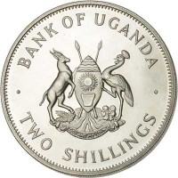 obverse of 2 Shillings (1966) coin with KM# 6 from Uganda. Inscription: · BANK OF UGANDA · FOR GOD AND MY COUNTRY TWO SHILLINGS