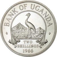 reverse of 2 Shillings (1966) coin with KM# 6 from Uganda. Inscription: · BANK OF UGANDA · TWO SHILLINGS 1966
