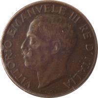 obverse of 5 Centesimi - Vittorio Emanuele III (1919 - 1937) coin with KM# 59 from Italy. Inscription: VITTORIO EMANVELE III RE D'ITALIA A.MOTTI