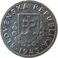 obverse of 20 Halierov (1942 - 1943) coin with KM# 4a from Slovakia. Inscription: SLOVENSKÁ REPUBLIKA 1943