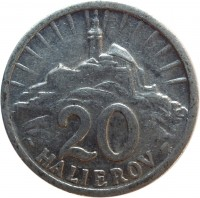 reverse of 20 Halierov (1942 - 1943) coin with KM# 4a from Slovakia. Inscription: 20 HALIEROV
