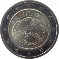 obverse of 2 Euro - Baltic Culture (2016) coin from Lithuania. Inscription: LIETUVA 2016