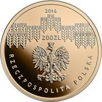 obverse of 200 Złotych - Bicentenary of the Warsaw University of Life Sciences (2016) coin with Y# 967 from Poland. Inscription: 2016 200ZŁ RZECZPOSPOLITA POLSKA