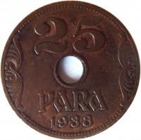 reverse of 25 Para - Petar II (1938) coin with KM# 17 from Yugoslavia. Inscription: 25 PARA 1938