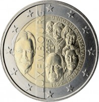 obverse of 2 Euro - Henri I - 125th Anniversary of the House of Nassau-Weilburg (2015) coin from Luxembourg. Inscription: LUXEMBOURG 2015 1890 - DYNASTIE NASSAU-WEILBOURG