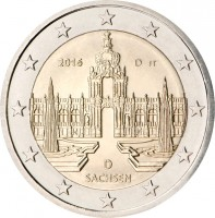 obverse of 2 Euro - Federal States: Saxony (2016) coin with KM# 347 from Germany. Inscription: 2016 D JT D SACHSEN
