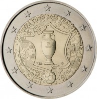 obverse of 2 Euro - 2016 UEFA European Championship (2016) coin from France. Inscription: UEFA EURO 2016 FRANCE RF