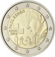 obverse of 2 Euro - 100th Anniversary of the Birth of the Famous Estonian Chess Grandmaster Paul Keres (2016) coin from Estonia. Inscription: PAUL KERES EESTI 2016