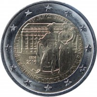 obverse of 2 Euro - 200 Years of Oesterreichische Nationalbank (2016) coin with KM# 3248 from Austria. Inscription: REPUBLIK ÖSTERREICH 1816 2016 200 JAHRE OESTERREICHISCHE NATIONALBANK