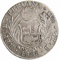 obverse of 4 Reales (1835 - 1836) coin with KM# 151.1 from Peru. Inscription: REPUB . PERUANA . CUZ . 4R . B . 1836 .